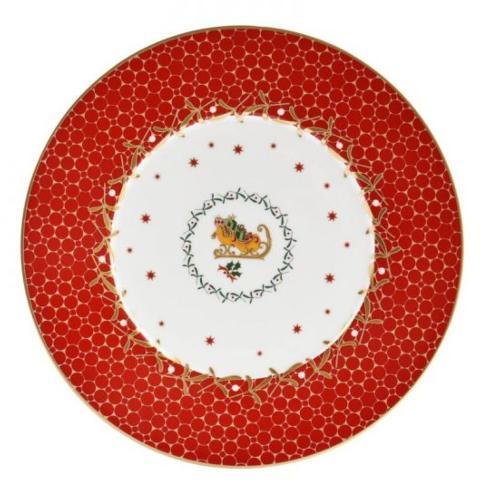 $68.00 Noel Red Sleigh salad plate