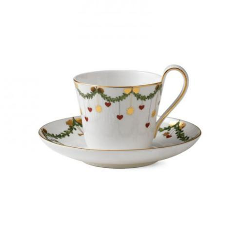 Oneida   Royal Copenhagen Star Fluted Christmas high handle cup and saucer $95.00