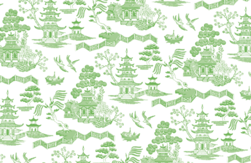 $30.00 Green Chintz Toile Placemats