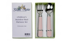 $15.00 Pink Stainless Baby Flatware Set