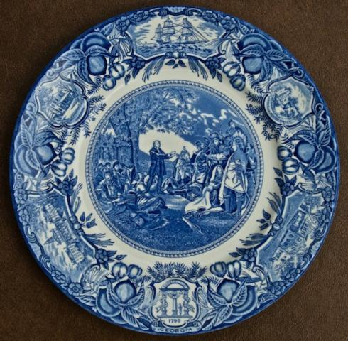 Georgia Historial Plates   Wesley Teaching Indians dinner $60.00