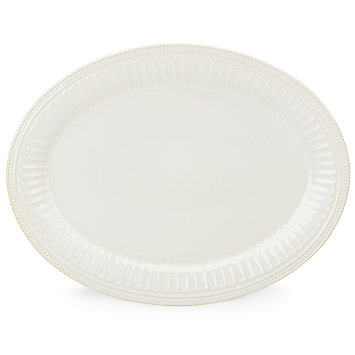 French Perle Groove White oval platter collection with 1 products