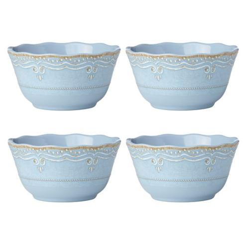French Perle Melamine Blue cereals set of 4 collection with 1 products