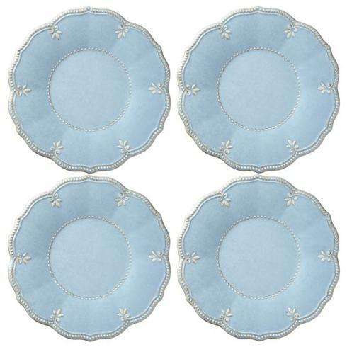 French Perle Melamine Blue dinners set of 4 collection with 1 products