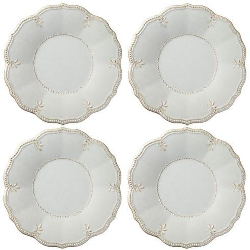 French Perle Gray Melamine set of 4 dinner plates collection with 1 products