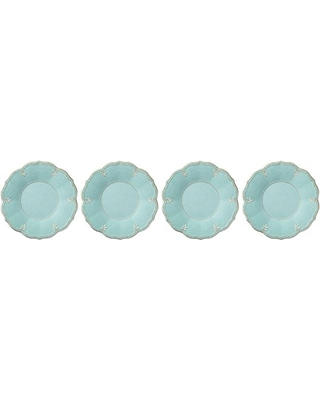 French Perle Aqua Melamine dinner plates set of 4 collection with 1 products