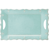 French Perle Aqua Melamine rect platter collection with 1 products