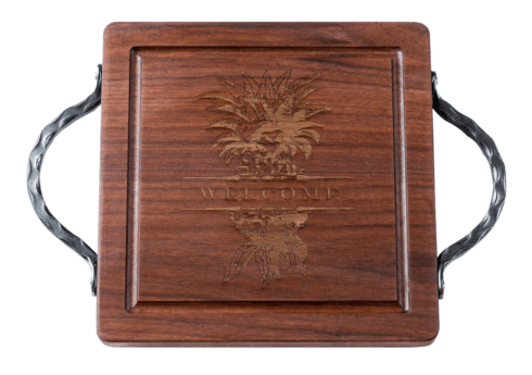 """$160.00 Personalized 12"""" Square Walnut Cutting Board with handles"""