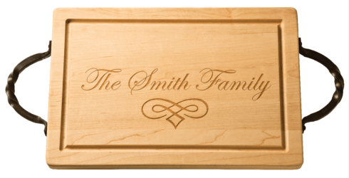 "$165.00 Personalized 18"" Rectangle Maple Cutting Board with Handles"