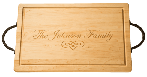 """$207.00 Personalized 20"""" Rectangle Maple Cutting Board with handles"""