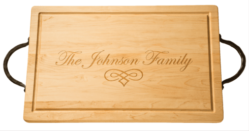 "$233.00 Personalized 24"" Maple Cutting Board with Handles"
