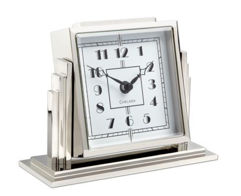 Athena Desk Clock In Nickel with White Dial