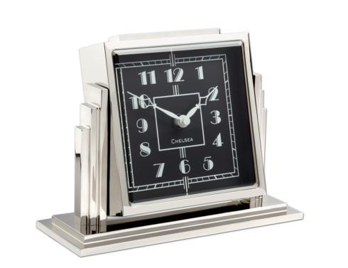 Athena Desk Clock In Nickel with Black Dial