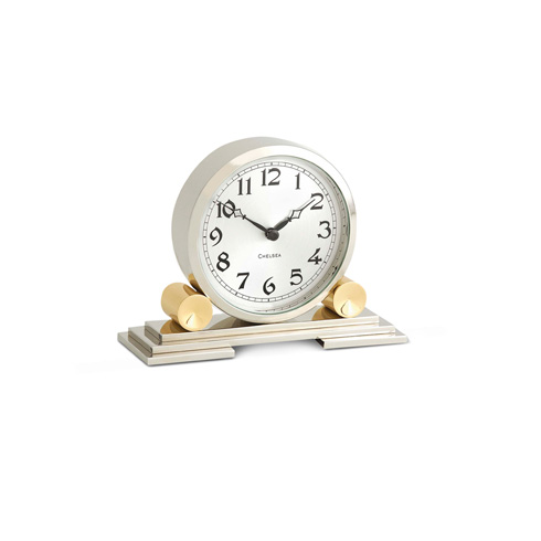 $495.00 Mayfair Clock in Brass and Nickel
