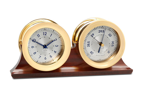 $1,390.00 Polaris 12/24 Hour Clock and Barometer on Double Base