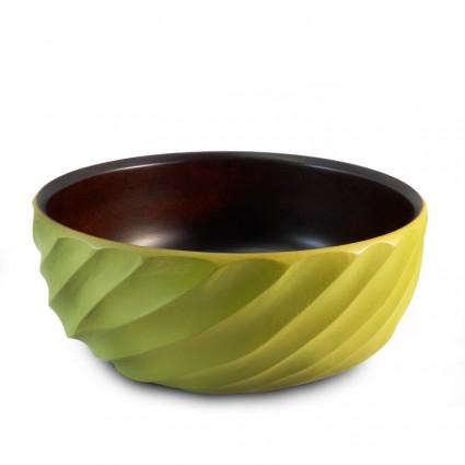 Wooden Bowl - Green (Spiral)