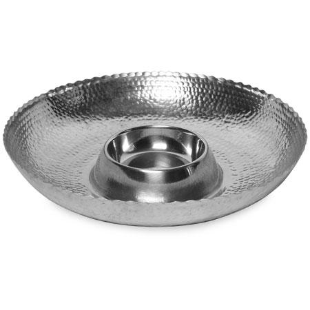 India Handicrafts  Hammered Pewter Chip & Dip $47.00