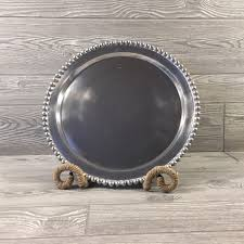 India Handicrafts  Beaded Pewter Round Tray $44.95