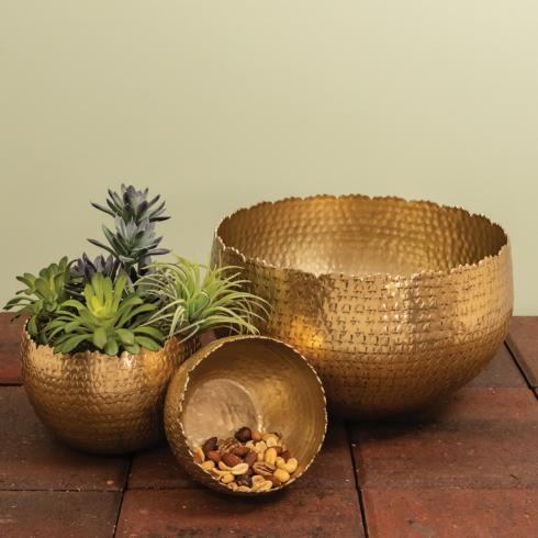 India Handicrafts  Hammered Pewter Large Gold Bowl $42.95