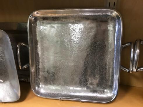 India Handicrafts  Textured Pewter Square Tray with Handles $75.00