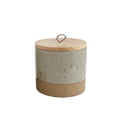 "$20.95 5 1/2"" - Stoneware Jar with Wood Lid"