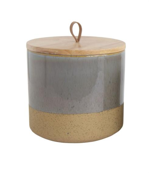 "$40.95 7 1/4"" Stoneware Jar with Wood Lid"