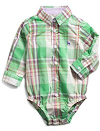 Kissy Kissy  Boys FMC - Green Button Up Onesie $30.00