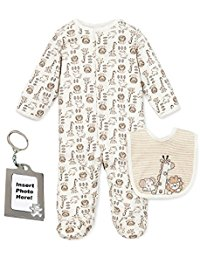 Kissy Kissy  Neutral  LM - Animal Footie With Bib $16.00