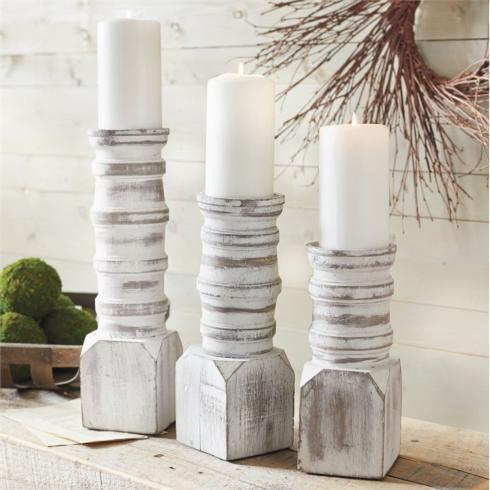 Mudpie   White Washed Candle Holder - Lg $34.95