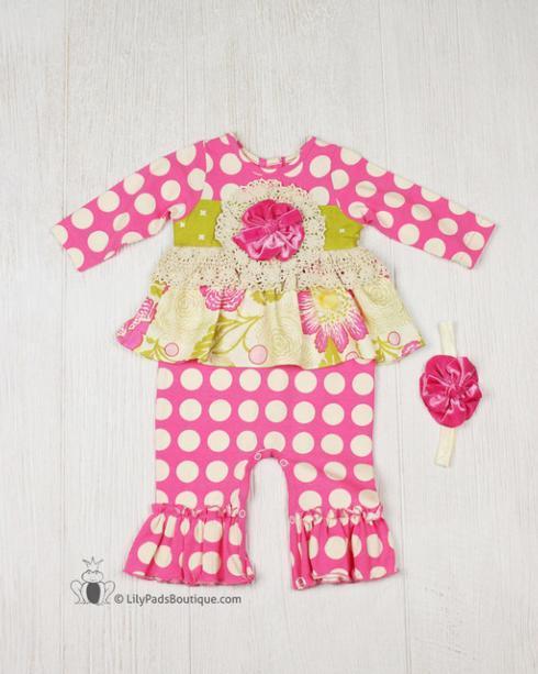 Kissy Kissy  Girls PNC - Pink Polkadot onepice w/ Headband $59.95