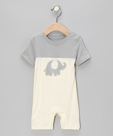 Kissy Kissy  Neutral  SB - Gray Elephant Short Sleeve Romper $27.00