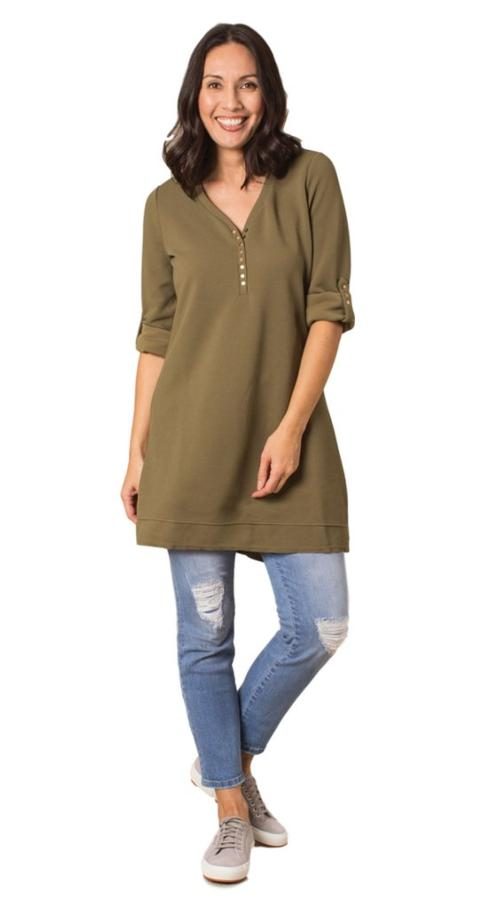 $52.99 Thermal & Louise Dress/Tunic - Sage - S/M