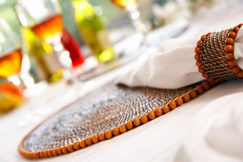 $172.00 Placemat with Beads Orange Set of 4 pcs