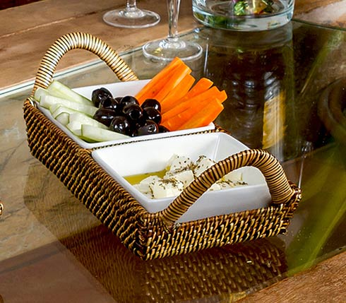 Calaisio  White Collection ~ Handwoven Basket with Serveware Basket with Porcelain Dish $83.00