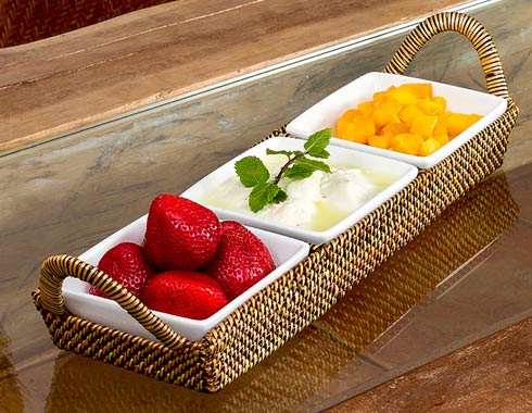 Calaisio  White Collection ~ Handwoven Basket with Serveware Basket with Porcelain Dish $126.00