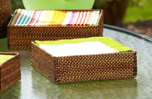 Calaisio Serving Collection Handwoven Basket Dinner Napkin Holder $35.00