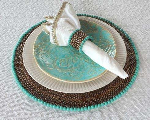 Calaisio Table Collection Handwoven Napkin Ring Beaded Napkin Ring Aqua $31.00