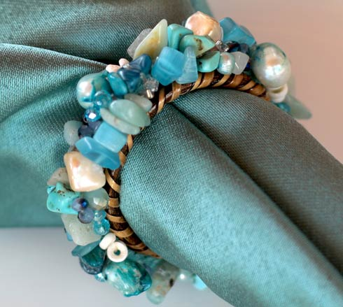 Jewelled Napkin Ring Aqua Set of 4 pcs image
