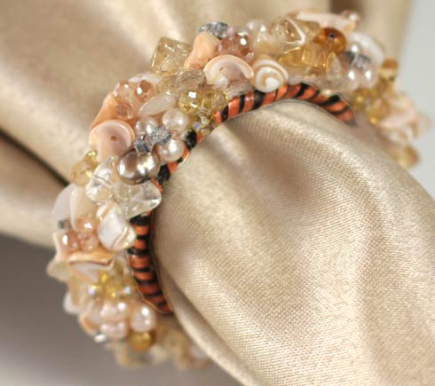Jewelled Napkin Ring Champagne image