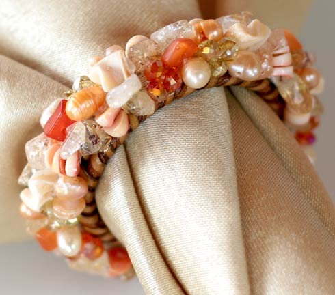 Jewelled Napkin Ring Coral Set of 4 pcs image