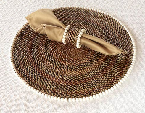 Calaisio Table Collection Handwoven  Placemat Placemat with Beads $180.00