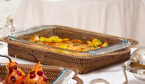 Calaisio Kitchen Collection Handwoven Basket with Serveware Basket with Glass Bakeware $120.00
