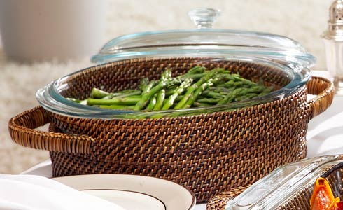Calaisio Kitchen Collection Handwoven Basket with Serveware Basket with Glass Bakeware $85.00