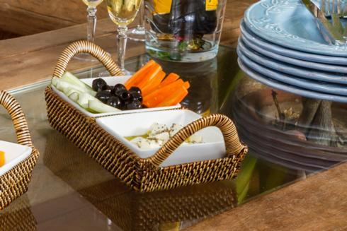 Calaisio  White Collection Basket with Porcelain Dish $86.00