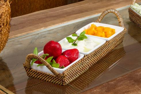 Calaisio  White Collection Basket with Porcelain Dish $129.00