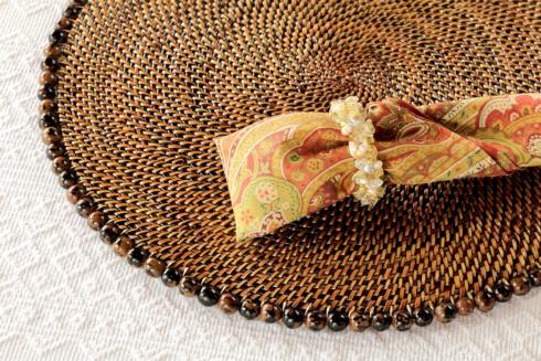 $205.00 Placemat with Beads Tortoise Set of 4 pcs