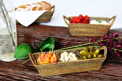 Calaisio Serving Collection Handwoven Chip & Dip Basket with Glass Bowl $91.00
