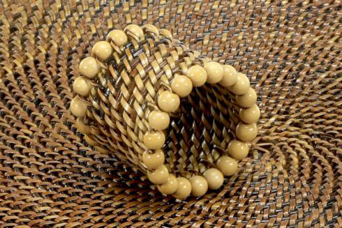 $31.00 Beaded Napkin Ring Natural Set of 4 pcs