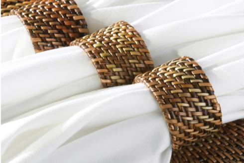 Calaisio Table Collection Handwoven Napkin Ring Napkin Ring Plain Set of 4 pcs $25.00