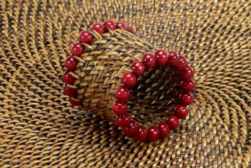 Beaded Napkin Ring Red image